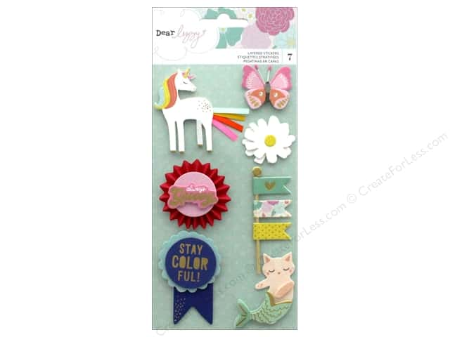 American Crafts Collection Dear Lizzy Stay Colorful Sticker Layered Foil Gold
