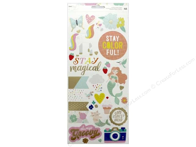 American Crafts Collection Dear Lizzy Stay Colorful Sticker 6 in. x 12 in. Foil Gold