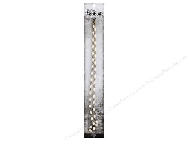 Tim Holtz Assemblage Chain 18 in. Beaded Oblong White