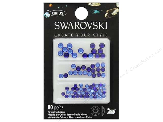 Cousin Swarovski Hotfix Mix Cobalt Sapphire 80pc- Colors are light blue and dark blue. Sizes 3mm, 4mm, and 5mm.