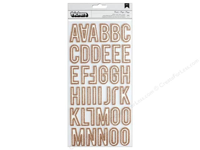 Crate Paper Collection Here & There Thicker Sticker Glitter Alpha Beach Rose Gold