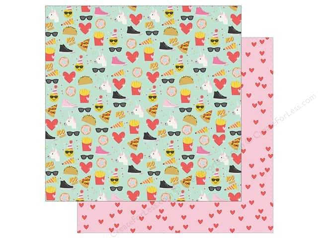 Simple Stories Collection Emoji Love Paper 12 in. x 12 in. Choose Happy