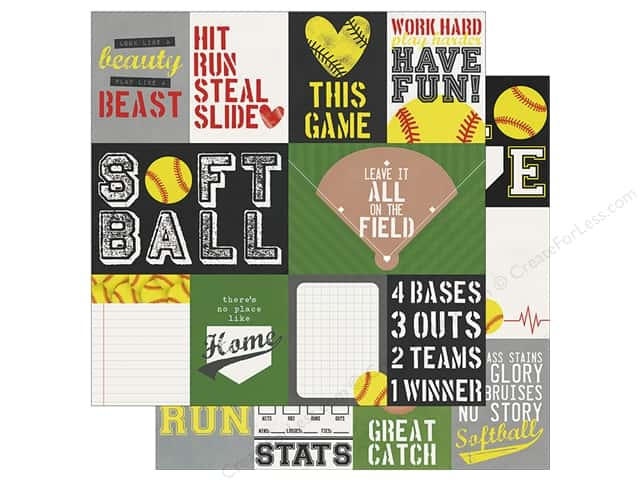Simple Stories Collection Softball Paper 12 in. x 12 in. Elements 3 in. x 4 in. & 4 in. x 6 in. (25 pieces)