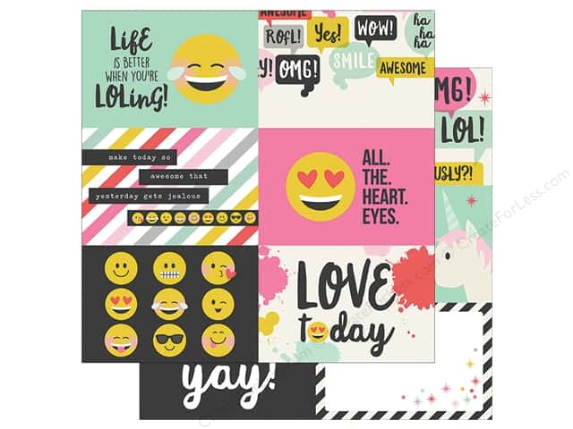 Simple Stories Collection Emoji Love Paper 12 in. x 12 in. Horizontal Elements 4 in. x 6 in.