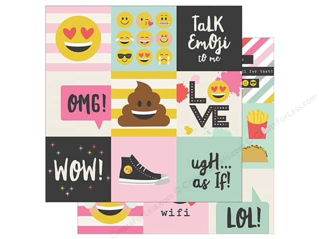 Simple Stories Collection Emoji Love Paper 12 in. x 12 in. Elements 4 in. x 4 in.