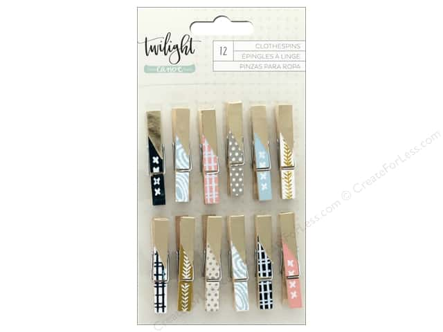 American Crafts Collection One Canoe Two Twilight Clothespins Foil Gold