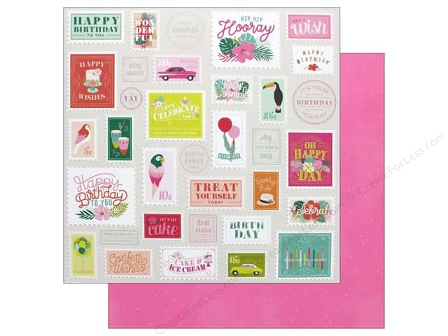 Pink Paislee Collection Confetti Wishes Paper 12 in. x 12 in. Paper 6 (25 pieces)