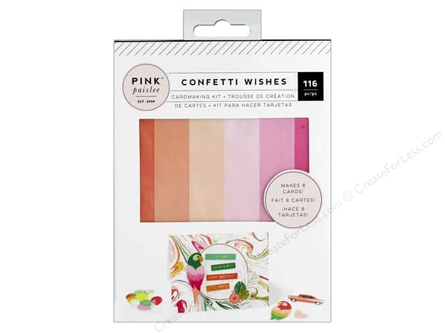 Pink Paislee Collection Confetti Wishes Card Making Kit