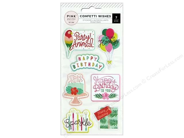 Pink Paislee Collection Confetti Wishes Sticker Emboss/Puffy
