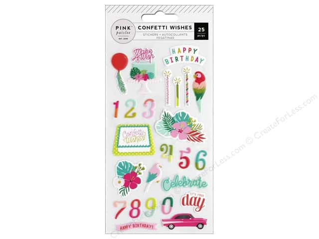 Pink Paislee Collection Confetti Wishes Sticker Puffy