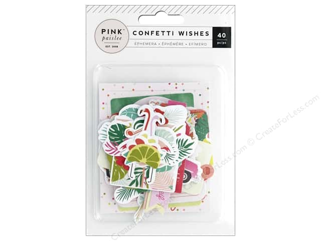 Pink Paislee Collection Confetti Wishes Ephemera Foil Gold