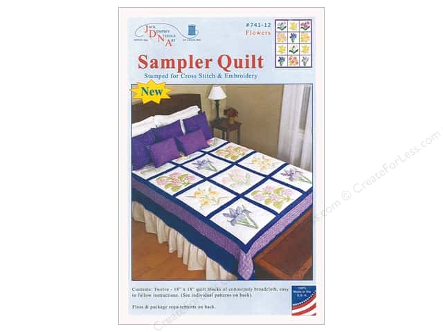 Jack Dempsey Sampler Quilt 18 in. Flowers