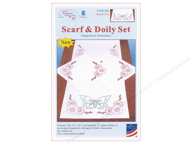 Jack Dempsey Scarf & Doily Set Perle Edge Butterfly