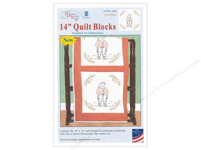 Jack Dempsey Quilt Blocks 14 in.  6 pc Cowboy