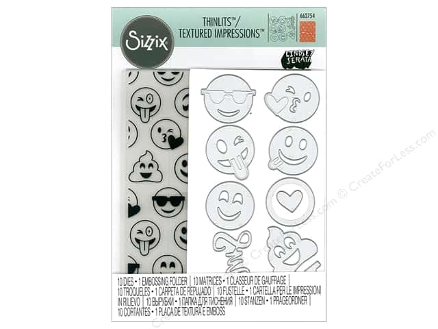 Sizzix Die & Emboss Folder Lindsey Serata Thinlits With Textured Impressions Smile Emojis