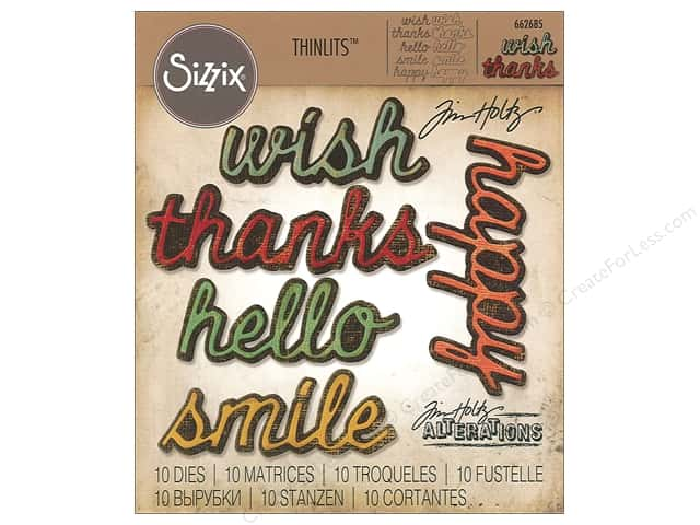 Sizzix Dies Tim Holtz Thinlits Shadow Script #2