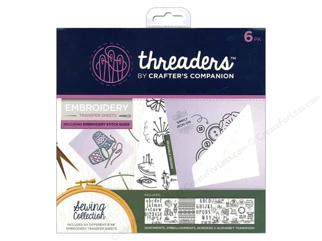 Crafter's Companion Threaders Embroidery Transfer Sheets Sewing
