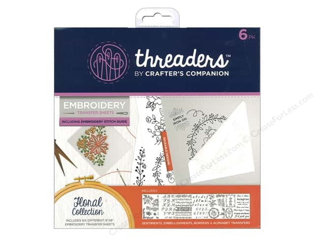 Crafter's Companion Threaders Embroidery Transfer Sheets Floral