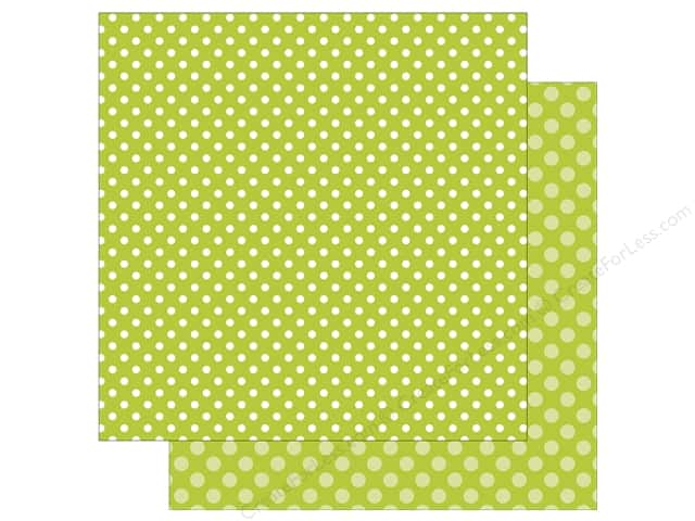 Echo Park Collection Dot & Stripe Spring Dot Paper 12 in. x 12 in.  Key Lime (25 pieces)