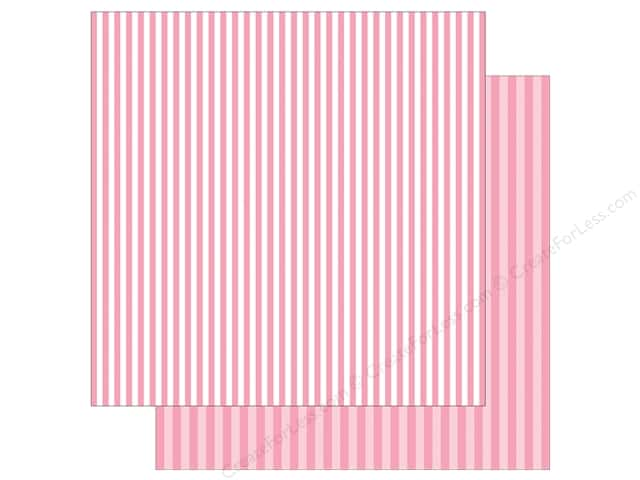 Echo Park Collection Dot & Stripe Spring Stripe Paper  12 in. x 12 in. Raspberry (25 pieces)