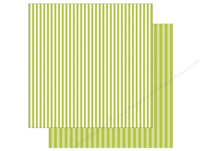Echo Park Collection Dot & Stripe Spring Stripe Paper 12 in. x 12 in. Key Lime (25 pieces)