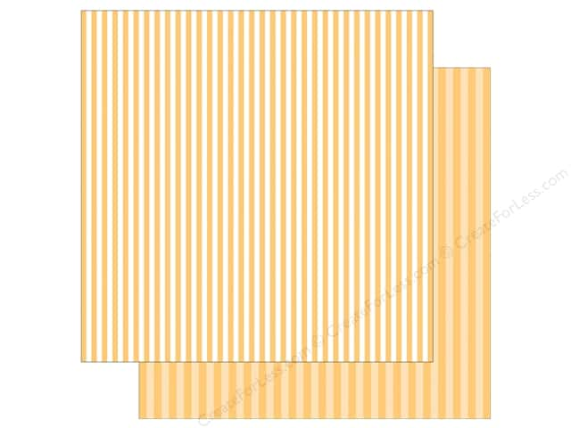 Echo Park Collection Dot & Stripe Spring Stripe Paper 12 in. x 12 in.  Banana Cream (25 pieces)