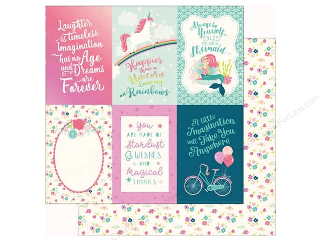 """Echo Park Imagine That Girl Paper 12""""x 12"""" Journaling Card 4""""x 6"""" (25 pieces)"""