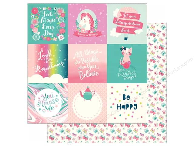 Echo Park Imagine That Girl Paper 12 in. x 12 in. Journaling Card 4 in. x 4 in. (25 pieces)