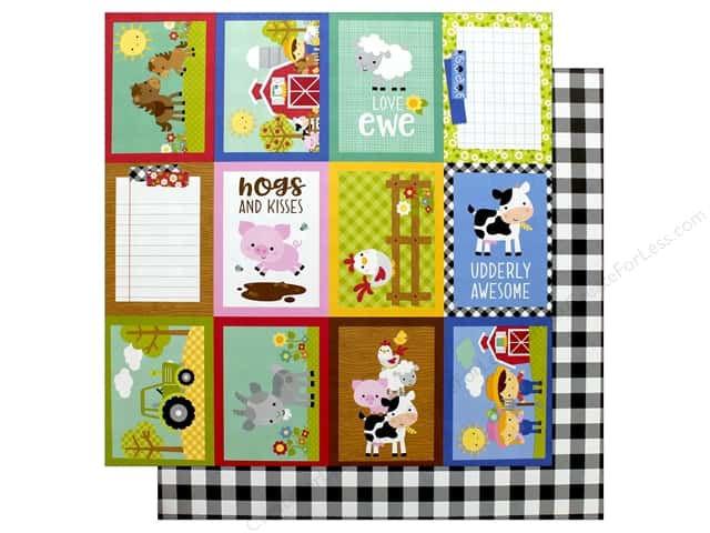 Doodlebug Collection Down On The Farm Paper 12 in. x 12 in. Buffalo Check (25 pieces)