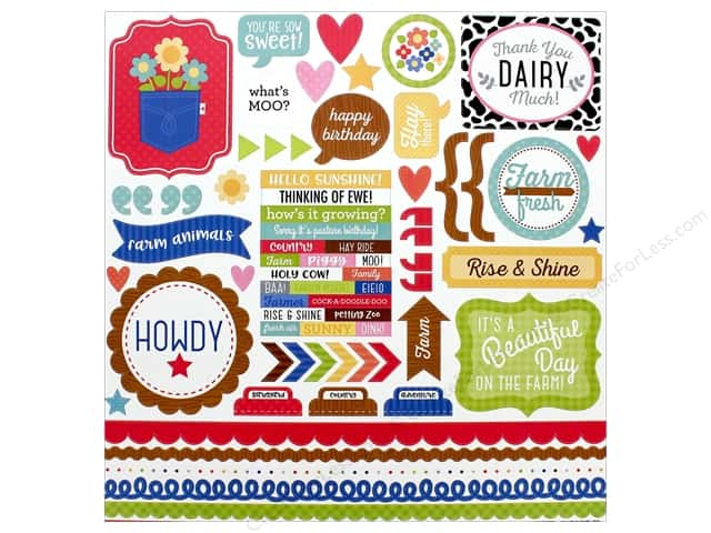Doodlebug Collection Down On The Farm Sticker This & That (12 pieces)