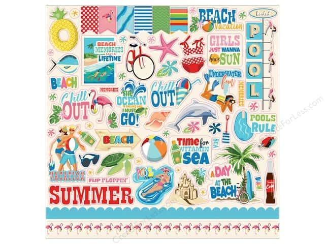 Carta Bella Collection Summer Splash Sticker 12 in. x 12 in. (15 pieces)