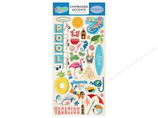 Carta Bella Collection Summer Splash Chipboard 6 in. x 13 in. Accents