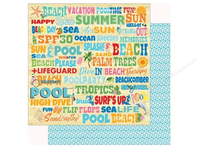 Carta Bella Collection Summer Splash Paper 12 in. x 12 in. Splash Words (25 pieces)