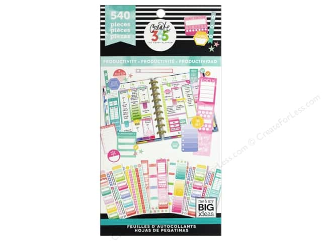 Me&My Big Ideas Collection Create 365 Happy Planner Sticker Value Pack Fill in Productivity