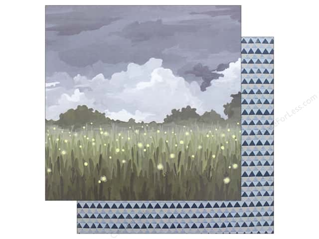 American Crafts One Canoe Two Twilight Paper 12 in. x 12 in. Fireflies In The Garden (25 pieces)