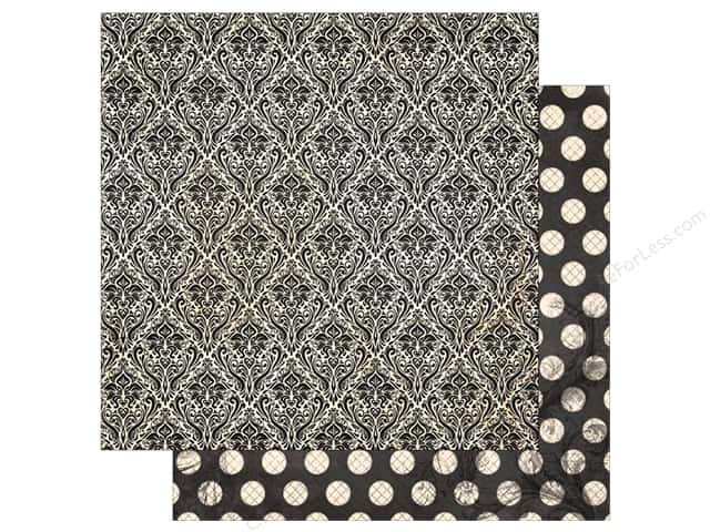 Bo Bunny Collection Double Dot Paper 12 in. x 12 in.  Licorice Damask (25 pieces)