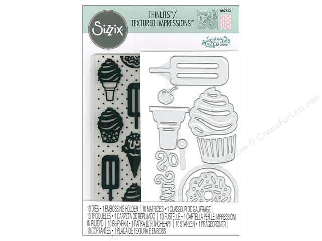 Sizzix Die & Emboss Folder Courtney Chilson Thinlits With Textured Impressions Sweet Treats