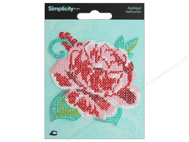 Simplicity Applique Iron On Cross Stitch Rose