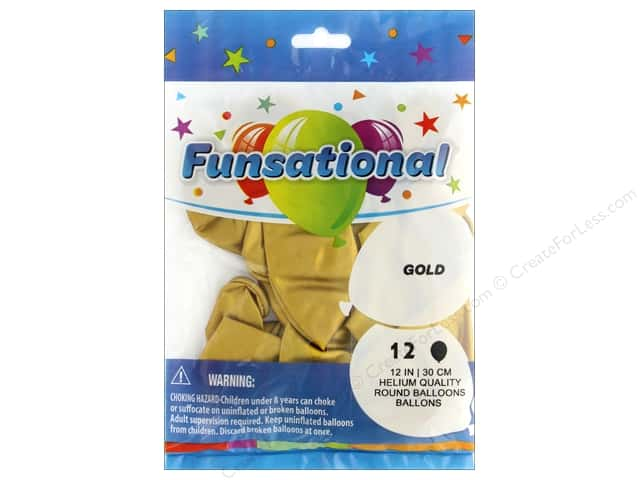 Pioneer Funsational Balloons 12 in. 10 pc. Metallic Gold