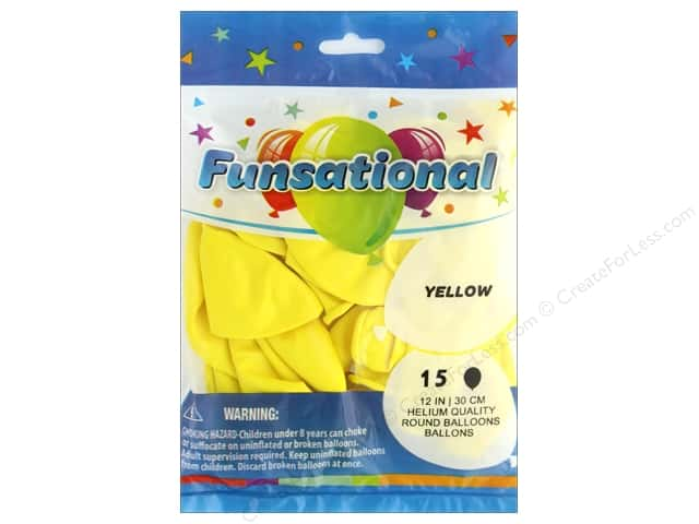 Pioneer Balloon Funsational Deco Balloon 12 in. Yellow 15 pc