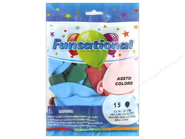 Pioneer Balloon Funsational Deco Balloon 12 in. Assorted 15 pc