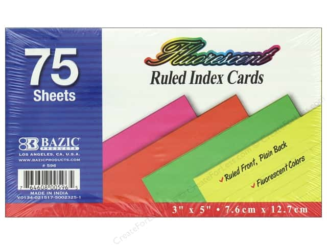 Bazic Basics Index Cards 3 in. x 5 in. Ruled 75 pc Assorted Fluorescent