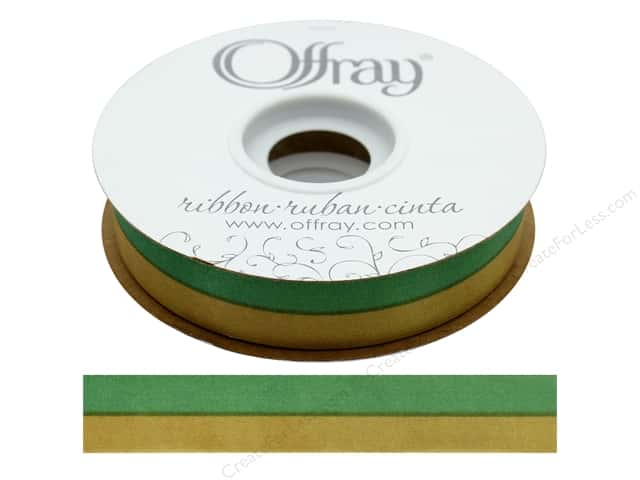"Offray Ribbon Acetate Spirit 7/8"" Emerald/Gold (50 yards)"