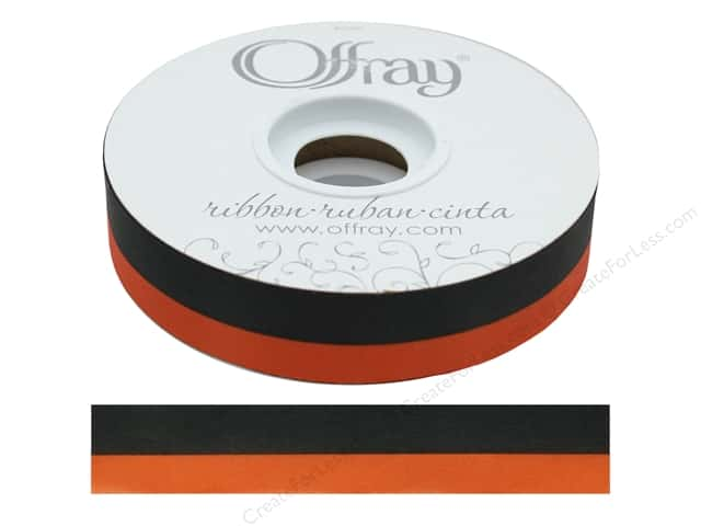 Offray Ribbon Acetate Spirit 7/8 in. Black/Orange