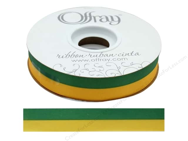 Offray Ribbon Acetate Spirit 7/8 in.  Emerald/Yellow