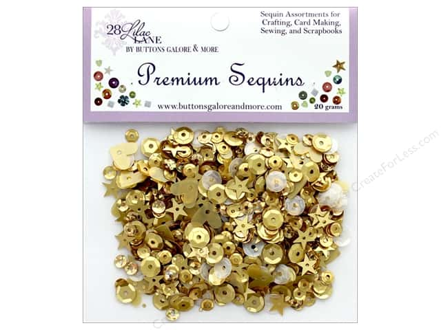 Buttons Galore 28 Lilac Lane Premium Sequins Golden