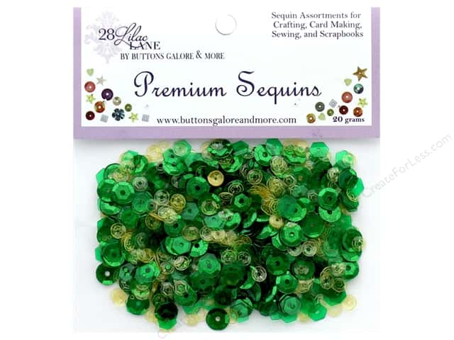 Buttons Galore 28 Lilac Lane Premium Sequins Emerald
