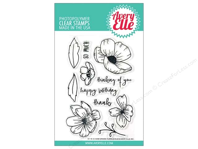 Avery Elle Clear Stamp Hand Drawn Florals