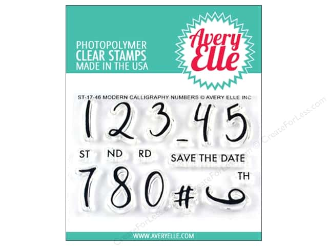 Avery Elle Clear Stamp Modern Calligraphy Numbers