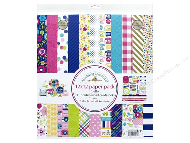 Doodlebug Collection Hello Paper Pack 12 in. x 12 in. Hello